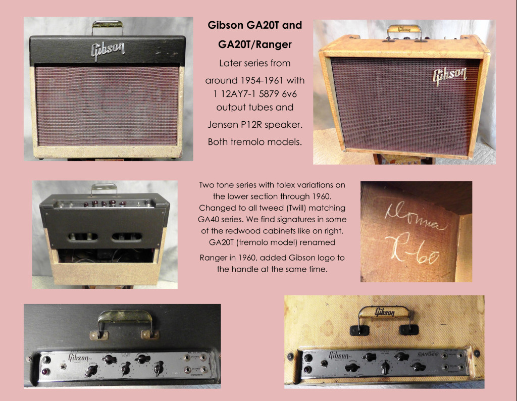 Six images of the Gibson GA20T series amplifier.